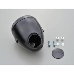 """5.75 """"Vintage headlight with gauge hole black"""