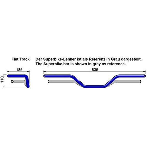 LSL 22MM Flat Track Stuur Staal - Zwart Type L14