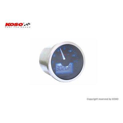 KOSO D55 Eclipse Style Tachometer/Thermometer (max 16000 RPM black)