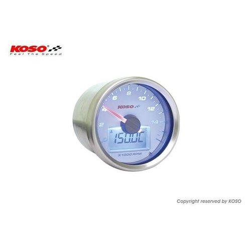 KOSO D55 GP Style Tachometer/Thermometer (max 16000 RPM white)