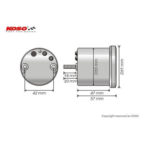 KOSO D55 GP Style Drehzahlmesser / Thermometer (max. 16000 U / min weiß)