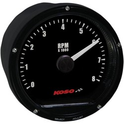 D75 Toerenteller Zwart gezicht 8000 RPM