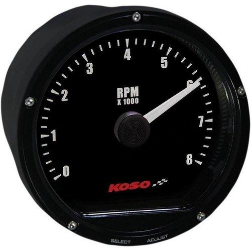 KOSO D75 Toerenteller Zwart gezicht 8000 RPM