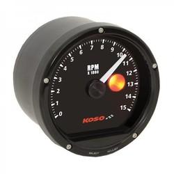 15000 RPM D75 Tachometer Black face, black bezel  (with shiftlight)