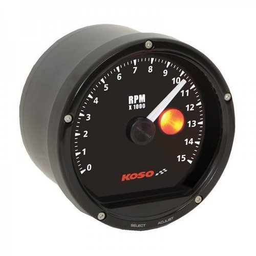 KOSO 15000 RPM D75 Toerenteller Zwart gezicht, zwarte rand (met shiftlight)