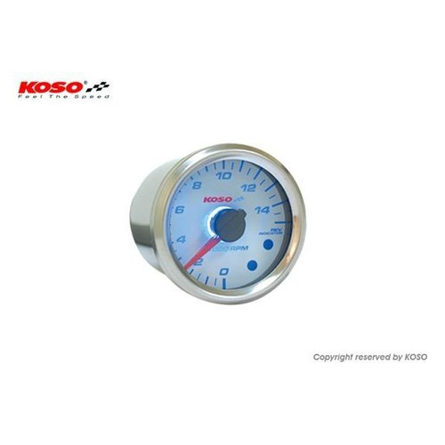 KOSO (15000 RPM / 48mm) GP style Universele Toerenteller - Wit