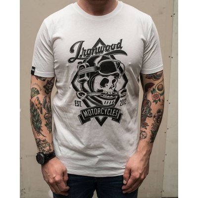 Ironwood Motorcycles Skull Tee White - T-shirt