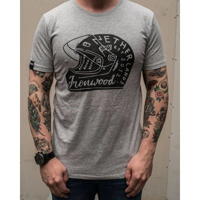 Ironwood Motorcycles Helmet Tee Grey - T-shirt