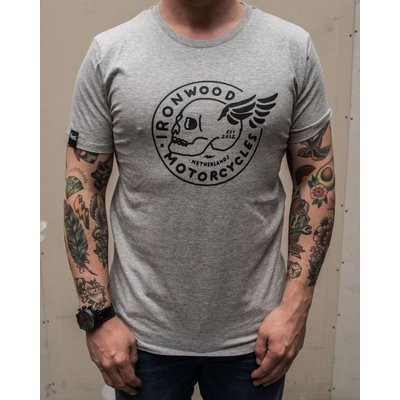 Ironwood Motorcycles Flying Skull Tee Grey - T-shirt