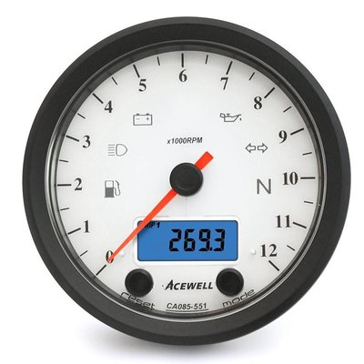 Acewell CA085 12.000RPM Speedo Weiss / Schwarz