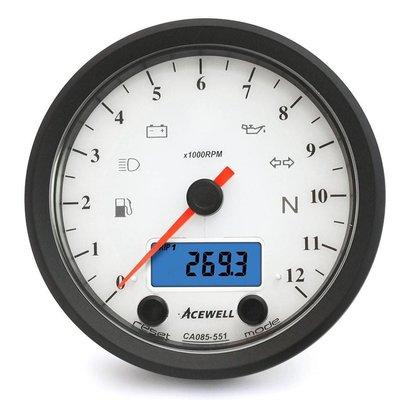 Acewell CA085 12.000RPM Speedo White / Black