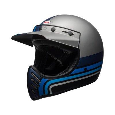Bell Moto-3 Helm Mat Zilver / Zwart / Blauw Strepen