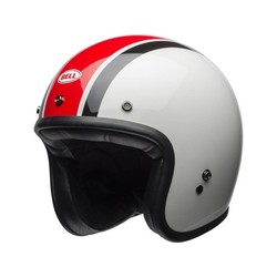 Custom 500 Helm Ace Café Stadium glanzend zilver / rood / zwart