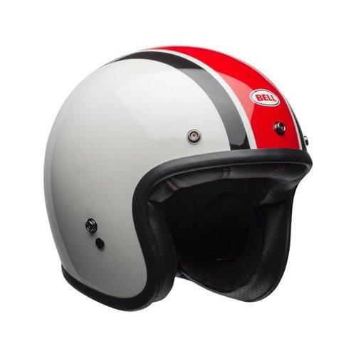 Bell Custom 500 Helm Ace Café Stadium glanzend zilver / rood / zwart