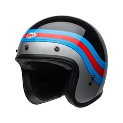 BELL Custom 500 DLX Helm Pulse Gloss Zwart / Blauw / Rood