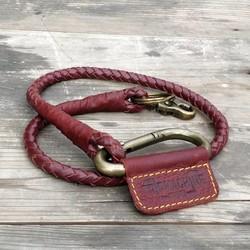 Gevlochten sleutelhanger -Cherry rood