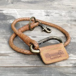 Porte-clés tressé - Brun clair