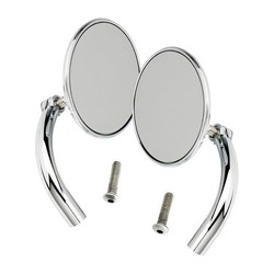 Utility Mirror Set Round Perch Mount Chrome