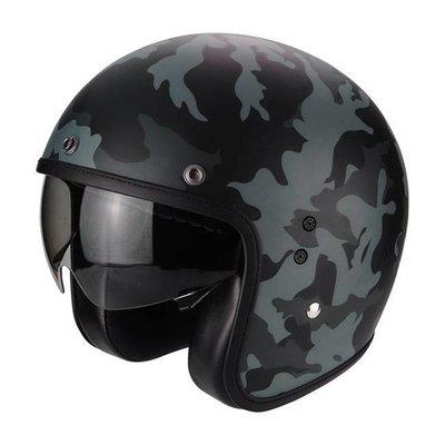 scorpion Belfast jet helm mission mat zwart en grijs