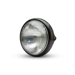 """7 """"Universal Metal Shorty Headlight Gloss zwart"""
