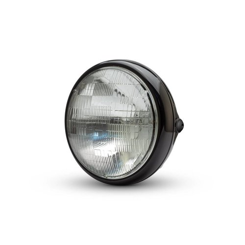 "7 ""glanzende zwarte Shorty metalen koplamp - 12v / 55w sealed beam"