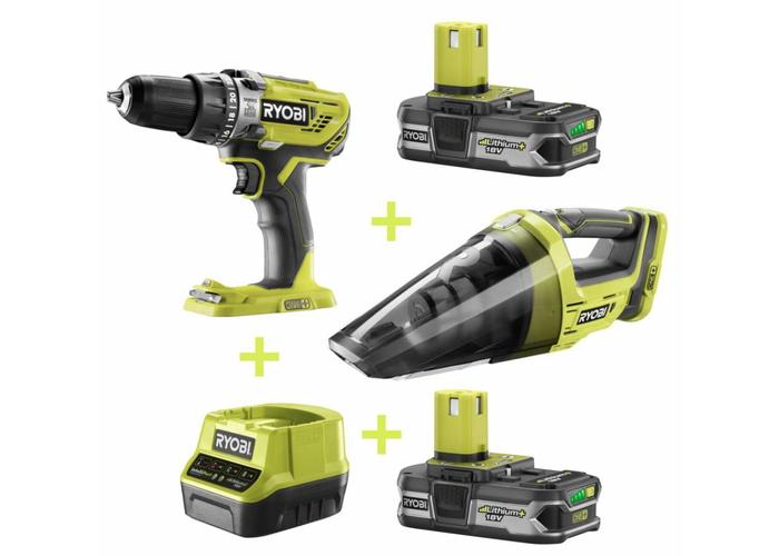 Ryobi ONE + Combo kit: Impact Drill + Hand Vacuum + 2x 1.3 ah 18v battery + Charger