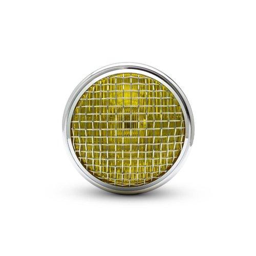 "7,7 ""Classic Chrome Mesh Scheinwerfer - Gelbe Linse"