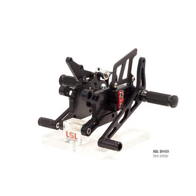 LSL 2-Slide rearset TRIUMPH Street Triple R 13- for Quick Shifter, black, mounting piece red