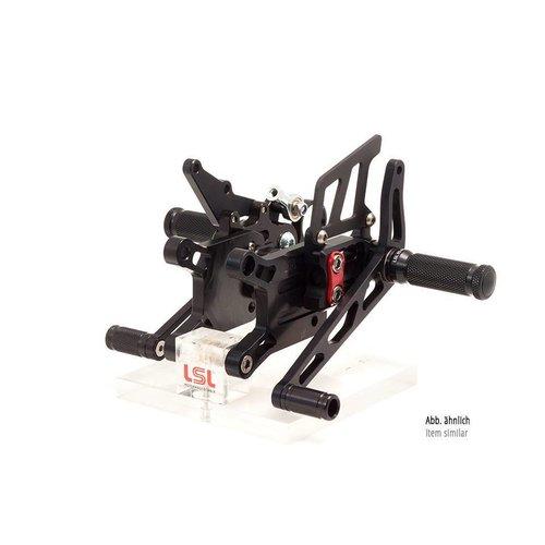 LSL 2-gats rearset TRIUMPH Street Triple R 13- voor Quick Shifter, zwart, montuurstuk rood