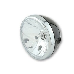 7 inch headlamp RENO shiny black chrome rim
