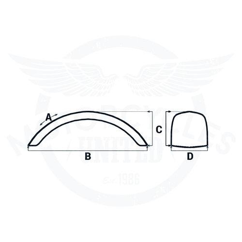 Motone Voorspatbord  gerold staal 135 mm breed voor 15/16 inch wielen