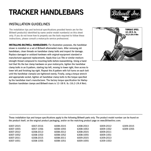 Biltwell 22 mm Tracker-stuur - HIGH