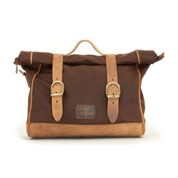 Single Side Satteltasche gewachste Baumwolle Marron Brown