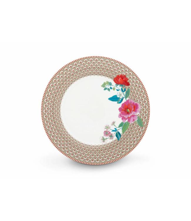 Pip Studio Floral dinerbord Rose 26 cm Khaki