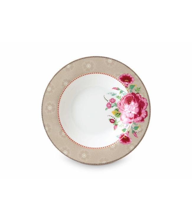 Pip Studio Floral soepbord Rose 21 cm Khaki