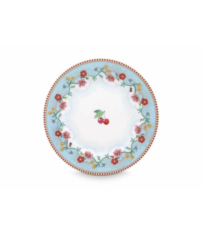 Pip Studio Floral gebaksbordje Cherry 17 cm Blauw