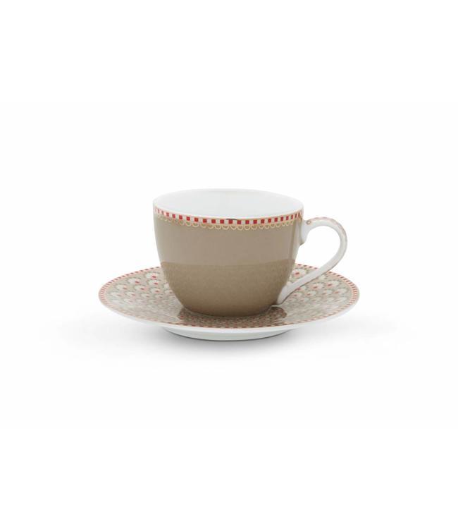 Espresso kop en schotel Bloomingtales Khaki