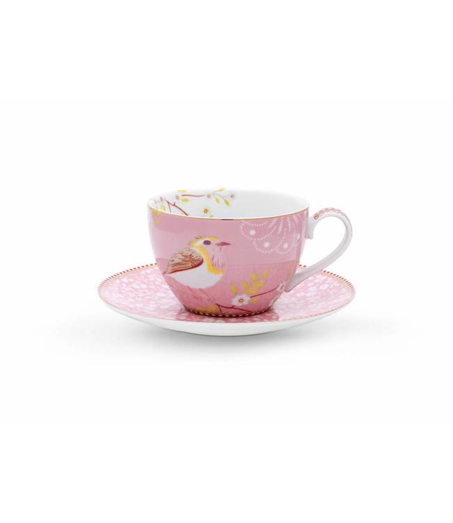 Cappuccino kop en schotel Hummingbird Roze