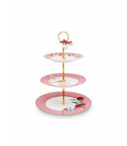 Floral étagère 3 niveaus Roze