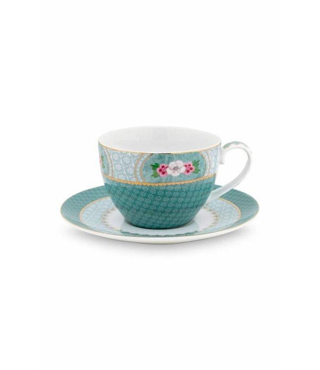 Blushing Birds cappuccino kop & schotel blauw