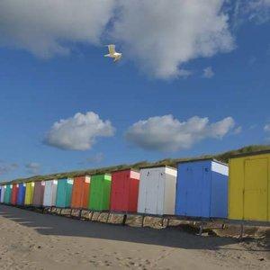Noordwand  Holland Fotobehang Strandhuisjes 5444