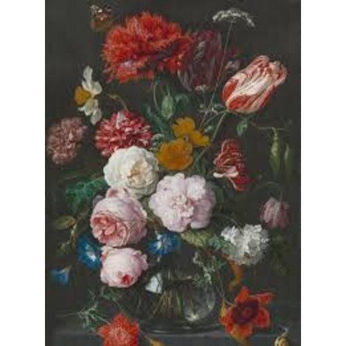 Dutch Painted Memories Mural Flowers in a Glass Vase 8018