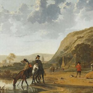 Dutch Painted Memories Mural River Landscape with Horseman 8028