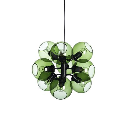 CO Bankeryd 910196 Hanglamp - Tage 9 lichts - L45xH37- Metaal Glas - Zwart Groen