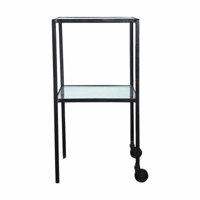 House Doctor Trolley metaal glas zwart 40 x 40 x 80 cm