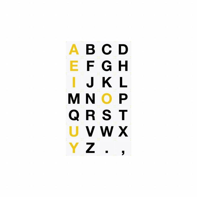 IXXI IXSP126 Wanddecoratie - ABC Alfabet - Set van 30 - B20xH20cm - Synaps papier - Geel Zwart