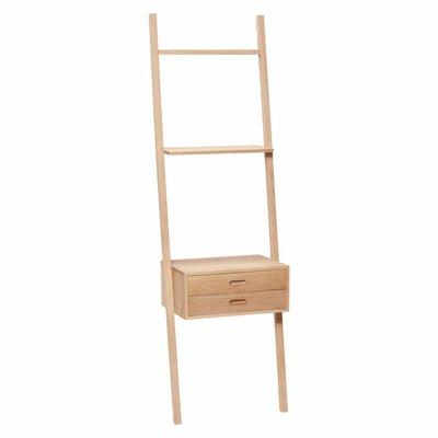Hübsch Display ladder eiken met laden 52 x 41 x 180 cm