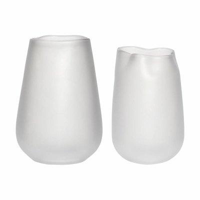 Hübsch Set vazen gerookt glas wit