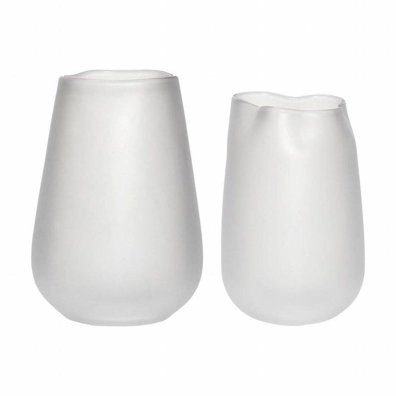 Hübsch 280603 Glazen Vazen - Set van 2 - ø16xH23cm en ø19xH27cm - Gerookt Glas - Wit