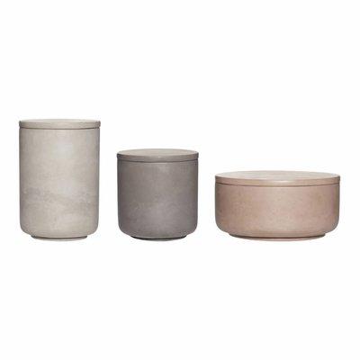 Hübsch Set opbergpotten beton bruin grijs donkergrijs